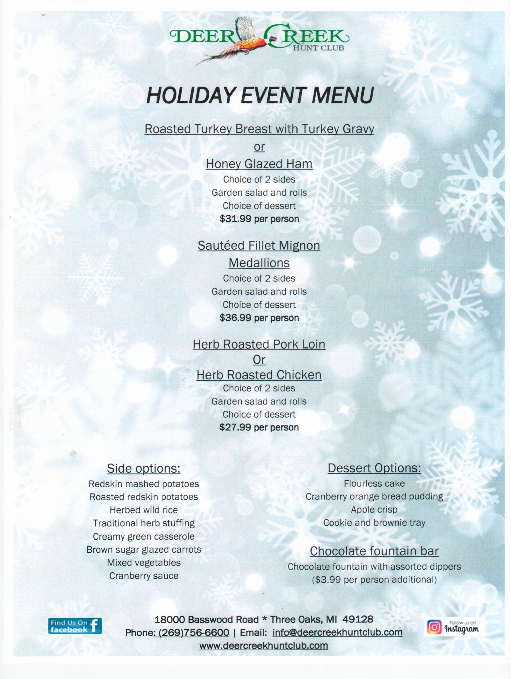 Deer Creek Holiday Event Menu